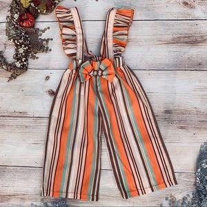 Girls Autumn Stripe Suspender Pants